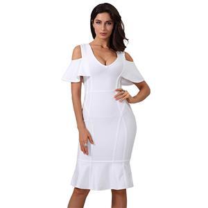 Cold Shoulder Dress, V Neck Dress for Women, Ruffle Bodycon Dress, Back Zipper Dress, Midi Bodycon Dress, Bodycon Bandage Dress, Elegant Party Dress, #N15235