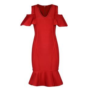 Cold Shoulder Dress, V Neck Dress for Women, Ruffle Bodycon Dress, Back Zipper Dress, Midi Bodycon Dress, Bodycon Bandage Dress, Elegant Party Dress, #N15237