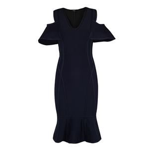 Cold Shoulder Dress, V Neck Dress for Women, Ruffle Bodycon Dress, Back Zipper Dress, Midi Bodycon Dress, Bodycon Bandage Dress, Elegant Party Dress, #N15238