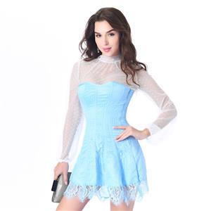 Stripe Corset Dress Set,Lace Corset Dress Sets, Sexy Short Lace Corset Dress Sets, Polka Dots Blouse Dress Sets, Elegant Lace Stripe Corset Dress for Women Sets,Sexy Mini Dress Sets, #N20262