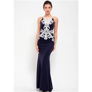 Cheap Clubwear Dress, Sexy Blue Gown, Hot Sale Sleeveless Dress, Evening Party Dress, Sexy Lace Long Gown For Women, Fishtail Gown, #N12651