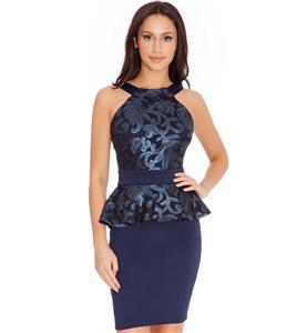 Elegant Dark-blue Sequins Floral Ruffles Formal Dress N10865