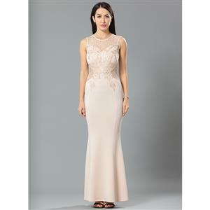 Cheap Clubwear Dress, Sexy Flesh Gown, Hot Sale Sleeveless Dress, Evening Party Dress, Sexy Lace Long Gown For Women, Fishtail Gown, #N12641