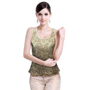 Sexy Gold Vest Tops, Beading Top Vest, Cheap Sleeveless Tops, Women