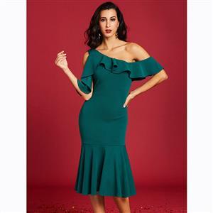 Half Sleeve Dress, One Shoulder Dress, Falbala Dress, Oblique Collar Dress, Midi Dress, Mermaid Dresses, Elegant Dresses for Women, Solid Color Dresses, #N15603
