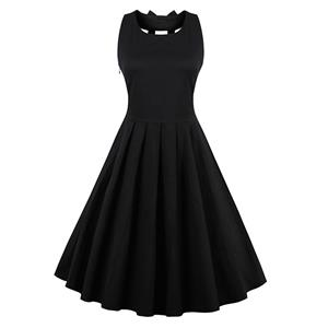 Elegant Black A-Line Sleeveless Pleated Little Cocktail Party Dress N11549