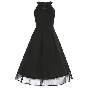 Elegant Sleeveless Pleated Cocktail Party Little Black Dress N11588