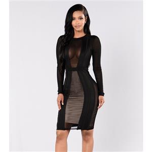 Fashion Black Dress, Lady Casual Dress, Women