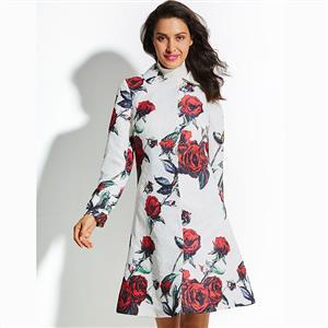Long Sleeve Coat, Peter Pan Collar Dress, Single-Breasted Coat, Flower Print Coat, Coat Dress for Women, Elegant Dresses for Women, Midi Coat Dress, Fashion Coat, #N15556