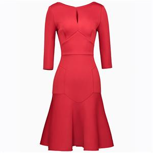Three-Quarter Sleeve Dresses, Round Neck Dress, Midi Dress, Mermaid Dresses, Elegant Dresses for Women, Solid Color Dresses, Hollow Out Dress, Bodycon Dress, #N15604