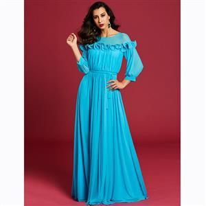 Long Sleeve Dress, Round Neck Dress, Pleated Dress, Lantern Sleeve Dress, Maxi Dress, Three-Quarter Sleeve Dresses, Elegant Dresses for Women, Solid Color Dresses, #N15601