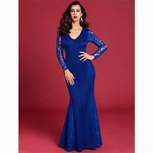 Long Sleeve Dress, V Neck Dress, Lace Patchwork Dress, Bodycon Dress, Maxi Dress, Party Dresses for Women, Elegant Dresses for Women, Solid Color Dresses, #N15602