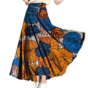 Elegant Skirt for Women, Lotus Print Skirt, Maxi Skirt for Women, Back Zipper Skirt, Cotton Long Skirt, Retro Fashion Skirt, #N15273