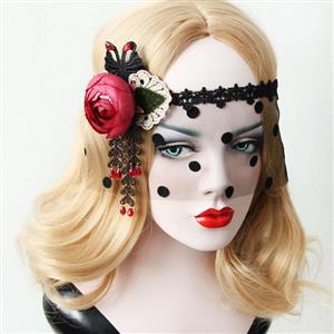 Halloween Masks, Costume Ball Masks, Black Lace Mask, Masquerade Party Mask, Punk Black Mask, Cosplay Face Veil, #MS13020