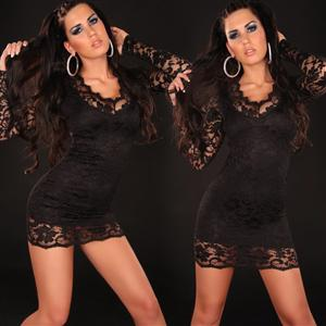 Sexy Mini Dress, Black Lace Dress, Sleeves Mini Dress, #N4595