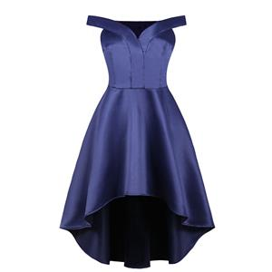 Elegant Dark-blue Off-shoulder Pleated Bodice High Waist High Low Party Dress N18699