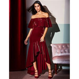 Off Shoulder Dress, Ruffled Bodycon Dress, Elegant Maxi Dress for Women, Irregular Hem Dress, Sexy Party Dress for Women,Bodycon Dress, #N15288