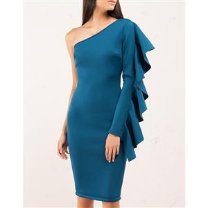One Shoulder Dress, Falbala Dress, Bodycon Dress, Midi Dress, Elegant Dress for Women, Oblique Collar Dress, One Sleeve Dress, Sexy Party Dress for Women, #N15314