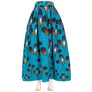 Elegant Skirt for Women, Peacock Feather Print Skirt, Maxi Skirt for Women, Back Zipper Skirt, Cotton Long Skirt, Retro Fashion Skirt, #N15271