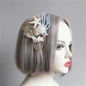 Bead Pendant Headpins, Princess Style Hair wear, Fashion Hairpin for Women, Pearl Hair Ornament, Coral Hair Accessory, Lace Headwear,Starfish Hair Accessory, #J20192