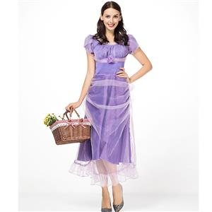 Elegant Lavender Purple Mesh Adult Puff Sleeves Princess Ankle-Length Dress Costume N18308