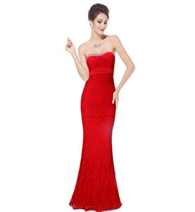 Red Long Evening Dress, Lace Dress for Women, Evening Party Dress for Women, Sexy Sweetheart  Sleeveless Lace Dress, Plus Size Dress, #N11129
