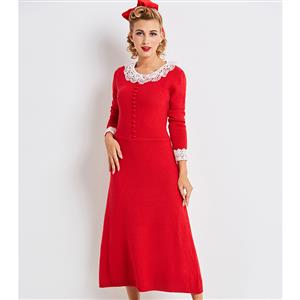 Elegant Long Sleeve Maxi Dress for Women, Long Sleeve Round Neck Slim Fit Dress, Red Single-Breasted Maxi Dress, Women