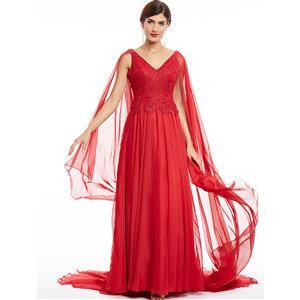 Sleeveless V Neck A-Line Evening Gowns, Elegant Red Appliques Chiffon Evening Dress, Sleeveless Chiffon Floor-Length Evening Dress, Women