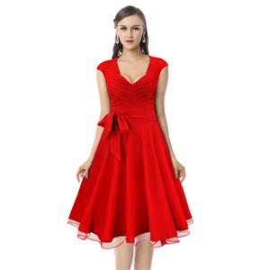 Elegant Vintage Red Flared Cocktail Party Swing Dress N11563