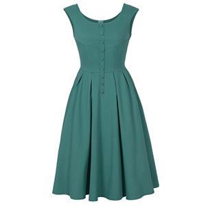Vintage Dresses for Women, Party Dress, Midi Dresses, Swing Dresses, Pleated Dress, Round Neck Dress, #N14396