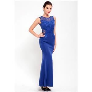 Cheap Clubwear Dress, Sexy Royal Blue Gown, Hot Sale Sleeveless Dress, Evening Party Dress, Sexy Lace Long Gown For Women, Fishtail Gown, #N12642
