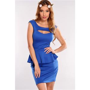Royalblue Falbala Business Peplum Dress, Scoop Neck Peplum Office Wear, Cut Out Chest Peplum Dress, #N8673