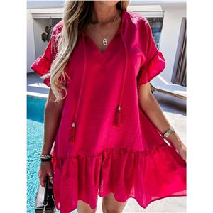 Fashion V Neck Dress, Fashion Mini Dress, Beachwear Loose Waist Dress, Cheap Party Dress Wholesale, Retro Dresses for Women 1960, Vintage Dresses 1950