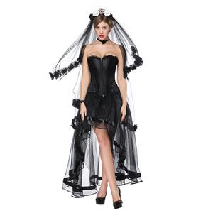 e7751ee66baeb Victorian Gothic Black Satin Overbust Corset with High Low Skirt Set N18207  · Gothic Off Shoulder Crop Top ...