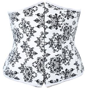 Satin Underbust Corset, Underbust Floral Printed Corset, Black and White Waist Training Underbust Corset, #N8656
