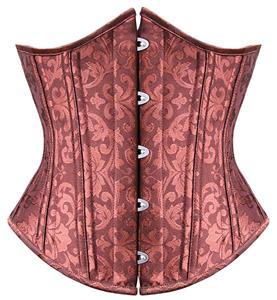 Elegant Brown Underbust Corset, Steel Bone Underbust Corset, Jacquard Weave Body Shaper Underbust Corset, #N9726