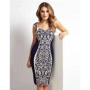 Elegant Sexy Dark-blue Floral Print Knee-length Dress N10852
