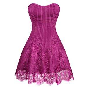 Gothic Stripe Corset Dress,Lace Corset Dress,Steampunk Short Lace Corset Dress,Plastic Bone Corset Mini Dress,Elegant Lace Stripe Corset Dress for Women,Sexy Mini Dress, #N20257