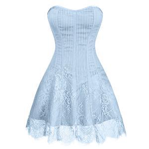 Gothic Stripe Corset Dress,Lace Corset Dress,Steampunk Short Lace Corset Dress,Plastic Bone Corset Mini Dress,Elegant Lace Stripe Corset Dress for Women,Sexy Mini Dress, #N20259