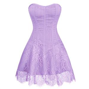 Gothic Stripe Corset Dress,Lace Corset Dress,Steampunk Short Lace Corset Dress,Plastic Bone Corset Mini Dress,Elegant Lace Stripe Corset Dress for Women,Sexy Mini Dress, #N20260