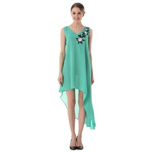 Deluxe Green Chiffon V Neck Embroidered Sleeveless Ball Gown High-low Dress N18765