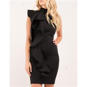 Sleeveless Bodycon Dress, High Neck Dress, Backless Bodycon Dress, Falbala Dress, Sexy Party Dress for Women, Mini Dress, Elegant Dress for Women, #N15315