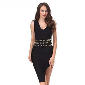 Sleeveless Bodycon Dress, V Neck Dress for Women, Black Studded Dress, High Split Dress, Elegant Party Dress for Women, Back Zipper Dress, Sexy Bodycon Dress for Women, #N15234