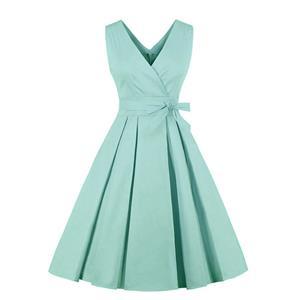 Fashion Dress, Womens Elegant Dress, Elegant V-neck Sleeveless Dress, Green V-neck Dress, Elegant Sleeveless Dress, #N18211