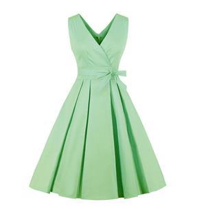 Green Elegant V-neckline Sleeveless Hight Waist Dress N18211