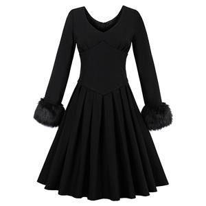Long Length Sleeve Vintage Dresses, Vintage Black Dress for Women, Fashion Dresses for Women Cocktail Party, Casual Swing Dress, V Neck Swing Dress, Winter Vintage Dress, #N14576