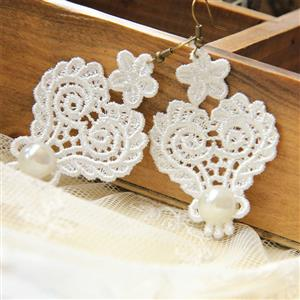 Retro Alloy Earrings, Gothic Style Earrings, Fashion White Floral Lace Earrings for Women, Vintage White Floral Lace and Gem Earrings, Casual Gem Earrings, Victorian Gothic White Earrings, Fashion White Floral Lace with Gem Earrings, #J18422