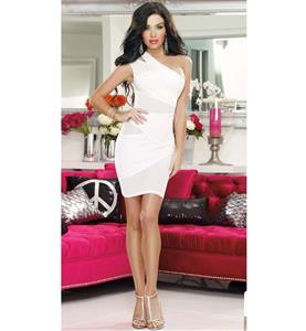 Hollow Out One Shoulder Dress, Sexy Semi Opaque Little White Dress, Elegant White Gauze One Shoulder Package Hip Mini Dress, #N9366
