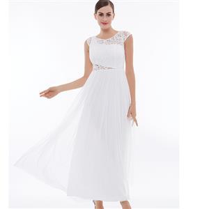 Cap Sleeve Round Collar Evening Gowns, White High Waist Ruched Evening Dress, Hollow A-Line Long Evening Dress, Women