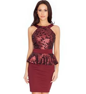 Fashion Wine-red Dress, Sexy Flounce Dress, Cheap Sequins Floral Dress, Plus Size Dress, Party Formal Dress, #N10863